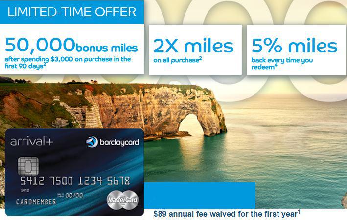 Limited Time 50k Signup Bonus For Barclaycard Arrival