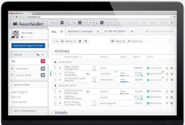 AwardWallet Sample Screenshot
