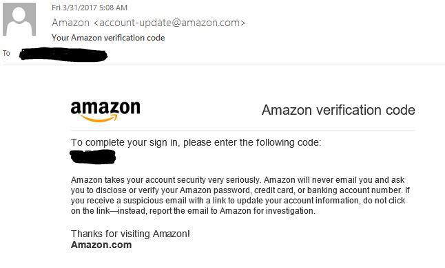 amazon envoir code de verification
