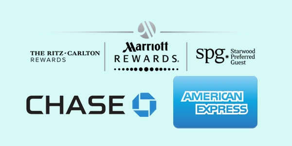 Marriot Rewards American Express and Chase logos