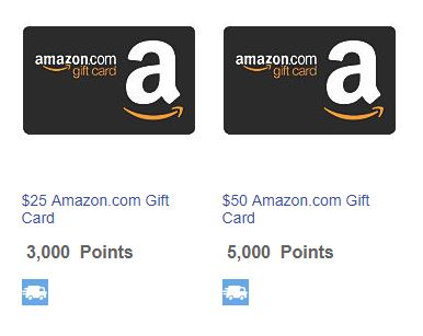 Rapid Rewards redemption options for Amazon Gift Cards.