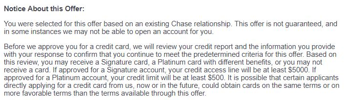 Chase Freedom Unlimited Pre-Approval Language