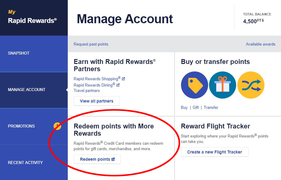 Rapid Rewards Manage Account Screen Capture