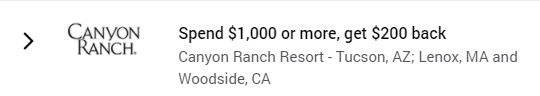 Canyon Ranch Amex Offer Screenshot