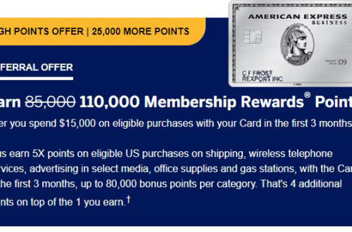Amex Business Platinum 110k MR Bonus Offer